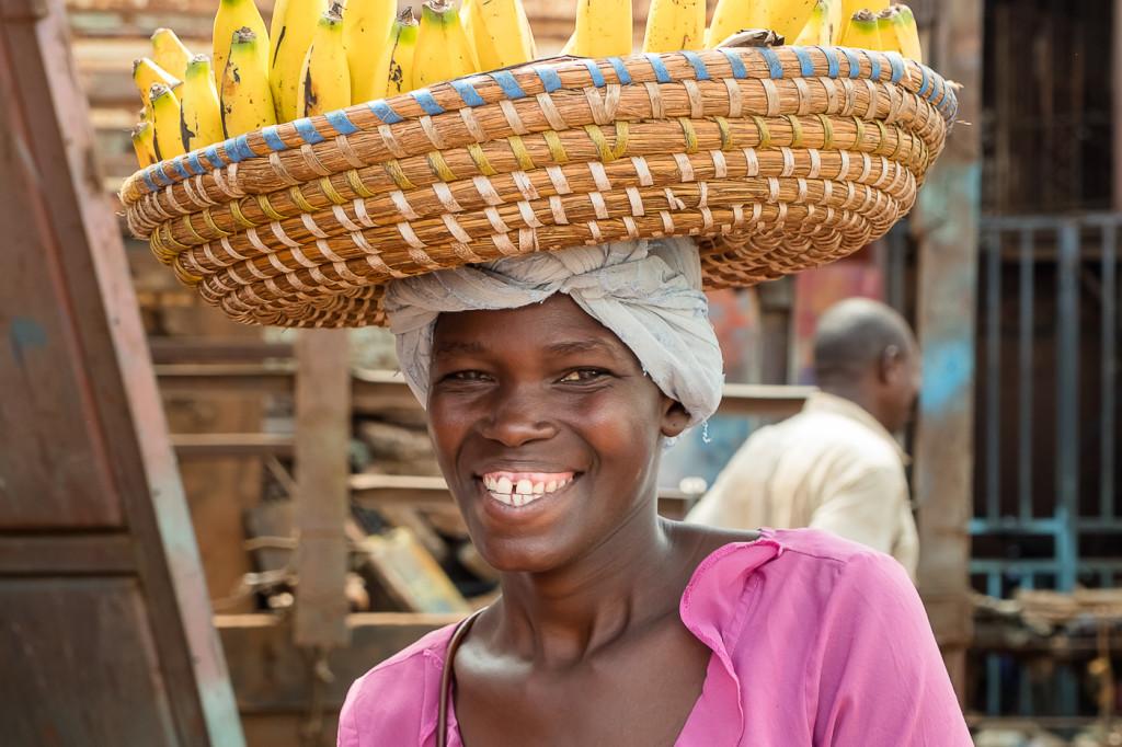 woman selling banana, Jinja, Uganda